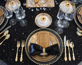 Black Sequin Tablecloths, 1DAYFREESHIP, Sequin table runners, Sequin Overlays, Tablecloths, Derby, Kate Spade, Mod, Glam, Gatsby wedding