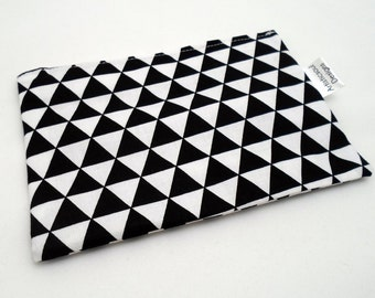 Reusable Snack Bag -- Modern Triangle Print, Black & White, Eco-Friendly