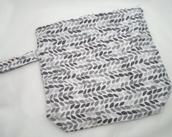 Wet /Dry Bag with Snap Handle - Waterproof Zipper Bag in Grey Leaves, Geometric