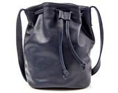 Navy Leather Bucket Bag, Navy Crossbody Bucket Bag