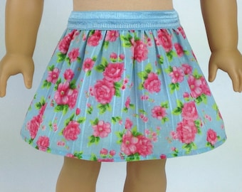 "American Girl Doll Everyday Pull on Skirt in Blue and Pink Roses  ~ 18""dolls"