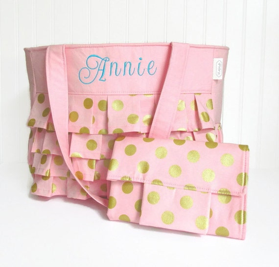 personalized ruffle diaper bag and changing pad in by wishfulgifts. Black Bedroom Furniture Sets. Home Design Ideas