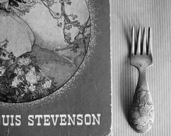 Silver Baby Fork, Silver Plate Fork, Minnie Mouse Fork, Vintage Fork, Baby Feeding, Engraved Fork, Baby Silverware, Baby Forks,