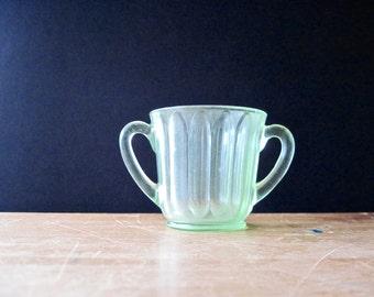 Green Depression Glass, Glass Sugar Bowl, 1930s, Uranium Glass, Depression Glass, Antique Green Glass, Vintage Green Glass, Small Sugar Bowl