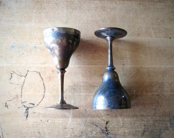 Antique Silver Plate Goblets, Cordial Set, Silver Goblets, Barware, Vintage Goblets, Vintage Silver Plate, Silver Cup, Silver Wine Glass