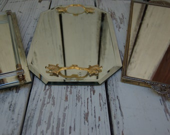 dresser mirror. Vintage vanity mirrorDresser top mirrored vanity tray. Vintage vanity mirrored tray