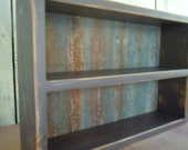 Spice Rack-Distressed Rustic Medium Free Standing Spice Rack With Rusty Corregated (Flattened) Roofing Back - Grey