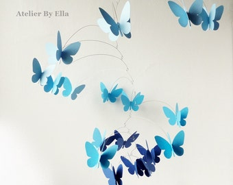 3D Butterfly Mobile, Kinetic mobile, Blue Hanging mobile, Nursery decor, butterflies mobile