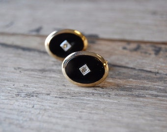 1960's Dapper Tie Clip Cuff Link Set- Gold Tone with Black Enamel and Single Rhinestone