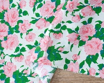 Pink Roses Cotton Fabric, Floral Fabric - Pink - 57 Inches Wide - Fabric By the Yard 86424