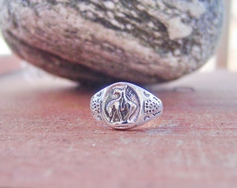 Vintage End Of The Trail Horse Ring Equestrian Native American Indian Horse Sterling Silver .925 Ring Jewelry Old New Stock Rare