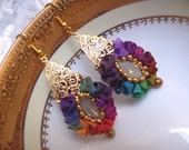 Druzy agate Bead embroidered crystal handmade earrings seed beaded jewelry OOAK