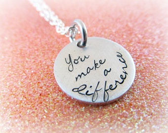 You Make a Difference Necklace | Volunteer Appreciation, Gifts for Teachers, One of a Kind Thank You Jewelry, Christmas Secret Santa