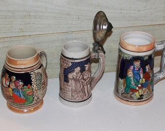 Vintage Beer Steins - Instant Collection - Man Cave Decor - Mugs - Ceramic - Bavarian- Germany - Barware -Drinkware- Collectibles -Bar Decor