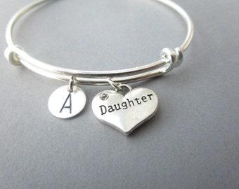 Daughter, Initial- Bangle Bracelet