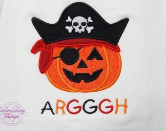 Toddler Halloween top, and Baby bodysuits, Pumpkin Pirate shirt, in long or short sleeves,  Personalized for free, kids halloween clothes,