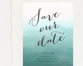 Elegant Wedding Save the Date - Teal Blue Ombre – Romantic Timeless Calligraphy Wedding Save the Date (Evelyn Suite)