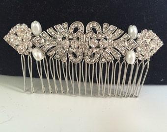 Art deco comb - bridal hair- hair accessory- crystal hair comb- wedding- hair comb- Hair slide - Hair accessories - Gatsby wedding