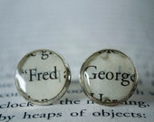 Fred and George Weasley Book Page Earrings Silver Resin Stud Earrings