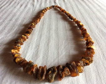 Sale - Antique Turn of the Century Raw Amber Necklace