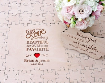 Love Story Puzzle Guestbook, Wedding Guest book Puzzle, Love Story Wedding Guest Book, Love Wood Puzzle Guestbook, 100 pieces
