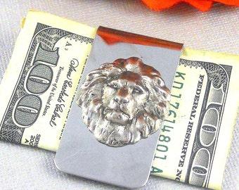 Silver Lion Money Clip Steampunk Money Clip Gothic Victorian Vintage Inspired, Men's Accessories, Leo Gift