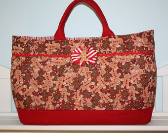 Large Brown, Beige, Green, Red and White Striped Gingerbread Christmas Holiday Tote Bag