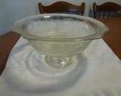 Vintage Madrid Depression Glass Pedestal Compote Bowl by Indiana Glass Madrid Pattern  HTF Clear Glass