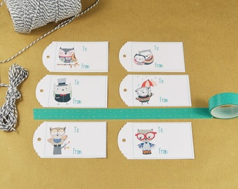 Set of 10 Owl Gift Tags, Gift Tags, Cute Gift Tags, Cute Gift Tags, Set of gift tags