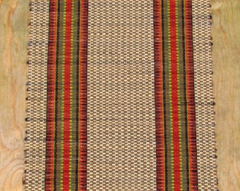 Rag Rug Runner Farm House Stripe Reds and Greens and Browns and Cream