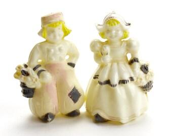 Vintage Celluloid Salt Pepper Shakers, Dutch Children, Dutch Boy, Dutch Girl, Holland, Vintage Plastic Shakers, Windmill, Holland, Epsteam