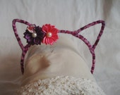 Cat Ear Headband - Fluffy Animal Print Headband - Metal Headband - Headband w Flowers - Cat Costume Headband - Pretend Headband - Girly Girl