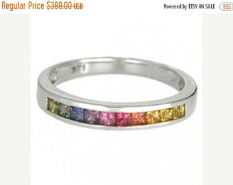 Valentines Day Sale Multicolor Rainbow Sapphire Half Eternity Band Ring 14K White Gold (3/4ct tw) SKU: 891-14K-Wg