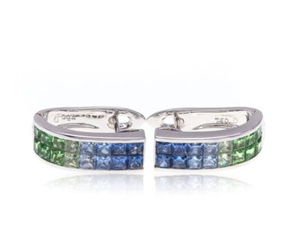 Multicolor Blue Sapphire and Green Tsavorite Garnet 18K Gold Earrings (3.51ct tw): SKU 23883/1 + 24024