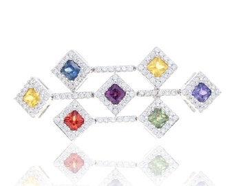 Multicolor Rainbow Sapphire & Diamond Fancy Pendant 18K Gold (2.61ct tw) SKU: 18958/3