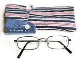 Eco Sunglasses Case Upcycled Striped Shirt Collar Fabric Eyewear Pouch Original OOAK Handmade Eyeglass Sleeve itsyourcountryspirit