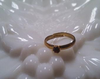 Costume Red Rhinestone Adjustable Ring