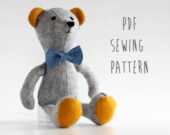 Teddy bear pattern, sew your own soft toy Bear - instant download pdf pattern
