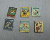 Gaël Miniature decorative 6 shabby chic classic cartoons child books, vintage books  1:12 Scale Or 1/6 Scale Dollhouse Miniature playscale