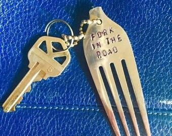 Keychain Hand Stamped Fork Keychain