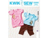K3982 Kwik Sew Sewing Pattern for Baby Pants, Baby Top and Baby Romper - Size 0 - 3 mos to 24 mos, Baby Snap Romper - Elastic Baby pants
