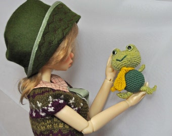 MSD, BJD doll toy/accessory, Miniature green froggy, Father's Day theme