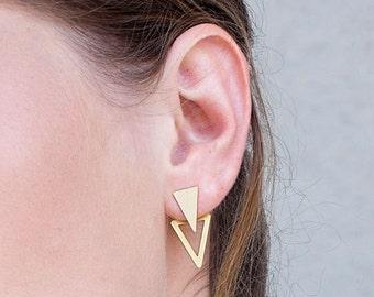 ear jacket, gold stud earrings, two triandgle earrings, gold plated silver plated geometric ear jackets, pair of gold earjackets