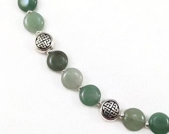 Green Aventurine Stone Necklace with Silver Celtic Labyrinth Beads