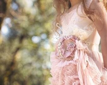 New! Matches Dollcake Rose pink sash girl sash tons of detail Bridal Sash Wedding Sash Pregnancy Maternity Sash Vintage Lace sash for photo