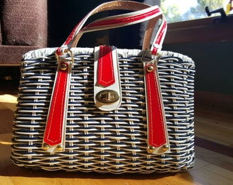 Vintage Vinyl Wicker Purse Red White and Blue Handbag -- VLV Rockabilly Retro Tiki Deadstock