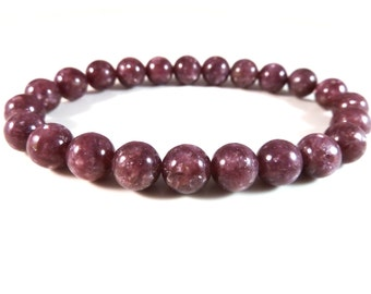 Purple Lepidolite Stretch Bracelet Polished Smooth Round 8mm Gemstone Beads