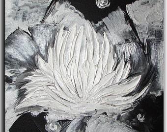 "10""  ORIGINAL Painting - silver metallic  Original art acrylic painting Water Lily gift ideas home decor wall decor wall hangings by Tatjana"