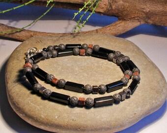 Mens Gemstone Necklace Obsidian Lava Jasper Free Worldwide Shipping