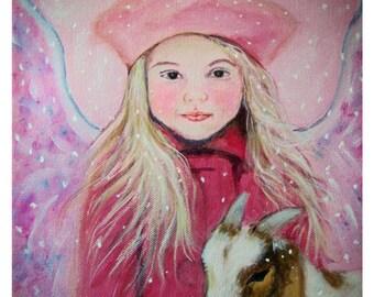 Original 8 x 10 Child Angel Fine Art Angel Print, Inspirational, Children's Decor, Nursery Room, Goat, Angel, Earth Angel, Pink, Girl's room